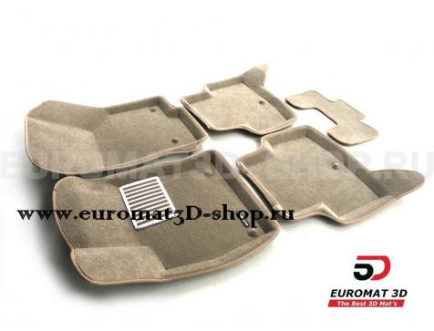 Текстильные 3D коврики Euromat3D Lux в салон для Audi A3 (2014-) № EM3D-004507T Бежевые